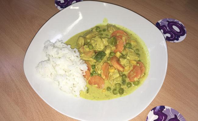 Mittag Puten Gemüse Reis Pfanne