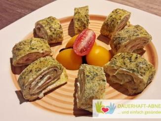 Gefüllte Low Carb Omelette-Röllchen