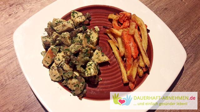 Hähnchenbrust mit Champignons und Gemüsepommes