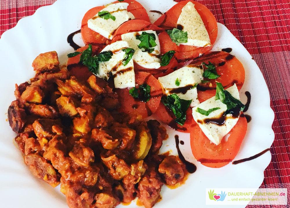 Currywurst mit Tomate Mozzarella