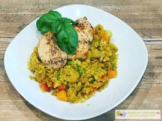 Gemüse-Reis-Pfanne mit Hühnchen