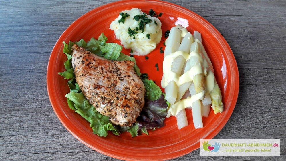 Putenbrust, Spargel und Kartoffelbrei