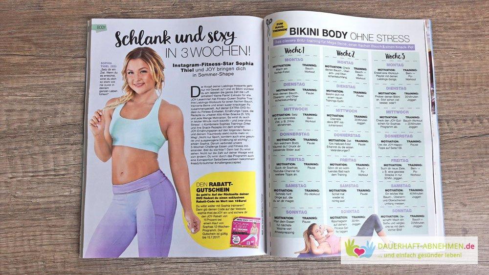 Trainingsplan von Sophia Thiel in der Zeitschrift Joy