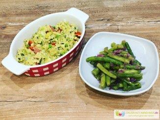 Rührei mit Bohnensalat