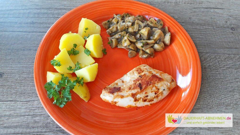 Hähnchenbrust, Kartoffeln und Pilze
