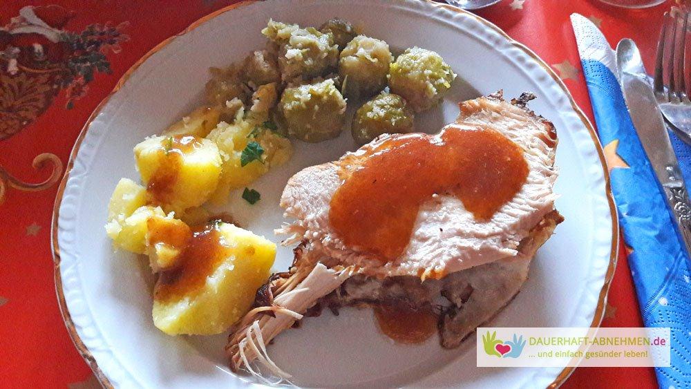 Pute, Kartoffeln und Rosenkohl