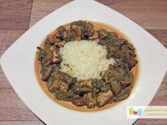 Reis mit Champignon-Hähnchen-Soße