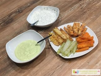 Gemüse-Pommes mit Avocado-Dip